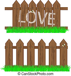 vector fence with grass for your design