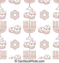 vector, feriado, hanukkah, seamless, patrón, judío