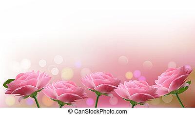 vector, feriado, plano de fondo, rosa, ilustración, flowers.