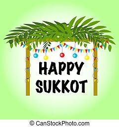 vector, feriado, sukkot, decoraciones, cartel, sukkah, judío, ilustración, feliz