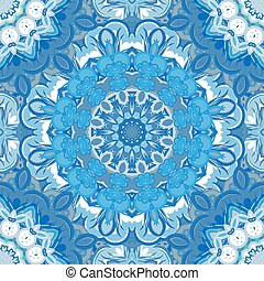 Vector festival art seamless mandala pattern. Ethnic geometric print. Blue frame background
