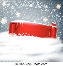 Vector festive background for Christmas and New Year with red ribbon- scroll of snow