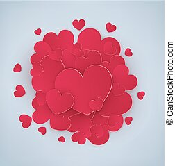 Vector festive background Valentine's Day. Many red hearts with one big heart in the middle. Isolated on grey background