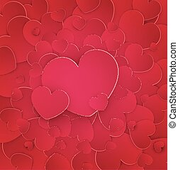 Vector festive background Valentine's Day. Many red hearts with one big heart in the middle