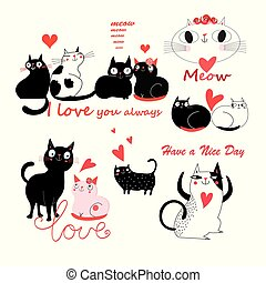 Vector festive funny set of enamored cute cats
