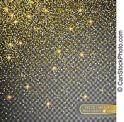 Vector festive illustration of falling shiny particles and stars isolated on transparent background.