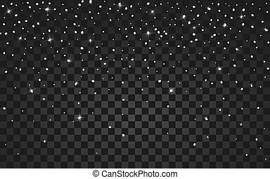 Vector festive illustration of falling shiny particles and stars isolated on transparent background. Golden Confetti Glitters. Sparkling texture