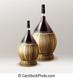 Vector fiasco bottle - Two vector fiasco bottles of wine...