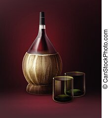 Vector fiasco bottles of wine and two glassfuls isolated on...
