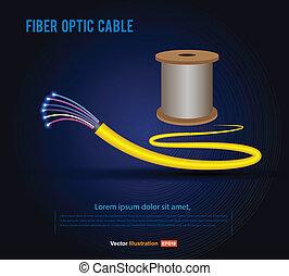 vector, fibra, cable, óptico, rollo