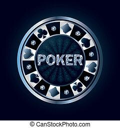 vector, fichade póquer, diamante