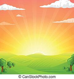 Vector Fields And Sunrise Sky