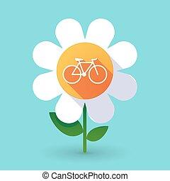 vector, fiets, bloem