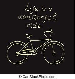 vector, fiets, illustratie, stylized