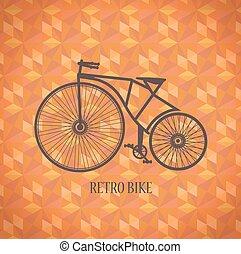 vector, fiets, oud
