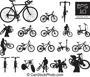 vector, fiets, set, silhouette
