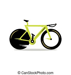 vector, fiets, spotprent, illustration.