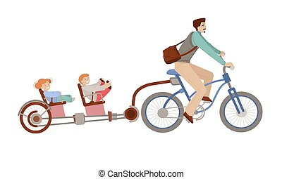 vector, fiets, vrolijke , achtergrond, fiets, witte , trailer., twee kind, geitjes, gezin, vader, bemannen illustratie, spotprent, vrijstaand, -, back, fietsende