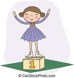 vector., figure, gagnant, podium., patineur, 1er