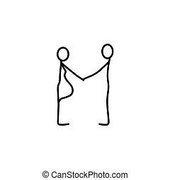 vector, figuren, stok, gezin, pictogram