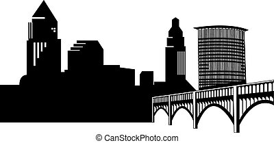 Vector file depicting the Cleveland Skyline and the Superior Bridge.