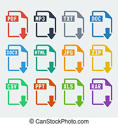 Vector file extensions icons set: pdf, mp3, txt, doc, docx,...