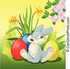 Happy cute easter bunny