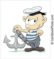Happy sailor with anchor