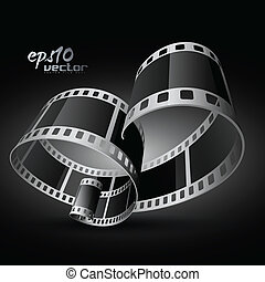 vector film reel - vector realistic 3d film reel