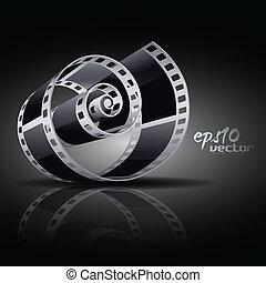vector film reel - realistic vector 3d film reel