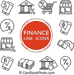 Vector finance line icons. of the dollar, bitcoin, ethereum. Bank symbol for a percentage rate loan. Symbols of money, trade, purchase, discounts.