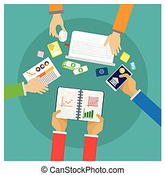 vector Financial and business teamwork with business people working on a desk graph on white background