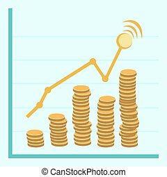 Vector financial business plan -  golden coins in flat retro sty