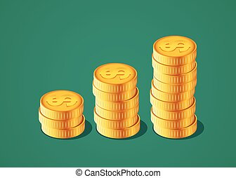 Vector financial growth concept with stacks of golden coins.