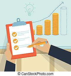 vector, financieel plan, zakelijk