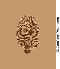 vector finger print on brown paper