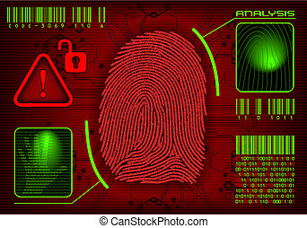 Concept of security system, advanced technology, violation and espionage. Vector image, you can remove or add information. All layers are named.