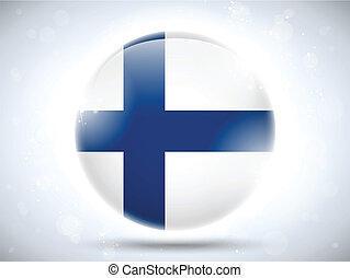 Vector - Finland Flag Glossy Button