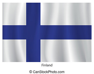 Vector Finland flag with title on the white background