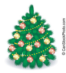 Vector fir-tree  with decorations