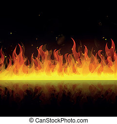 Vector Fire Background - Vector Illustration of a Fire...