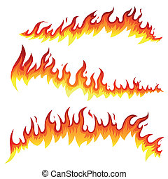 Vector Fire Elements - Vector Illustration of Fire Elements