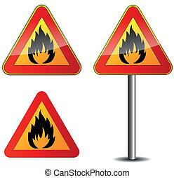 Vector fire signpost - Vector illustration of fire signpost...