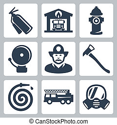Vector fire station icons set: extinguisher, fire house,...