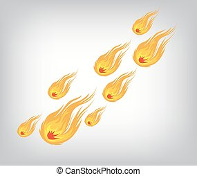 Vector fireball on white background. Fireball Icon.