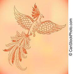 vector firebird hand-drawn illustration on old paper,...