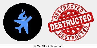 Vector Fired Airplane Icon and Scratched Destructed Stamp - ...