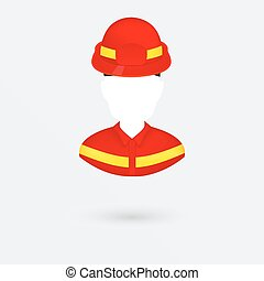 Vector Firefighter Icon. Isolated on white.