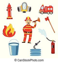 Vector fireman in protection uniform equipment set