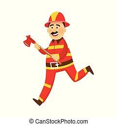 Vector fireman in protection uniform with axe